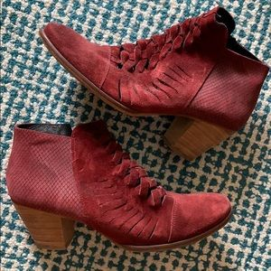 Shoes - Red Suede Ankle Booties made in Spain size 41